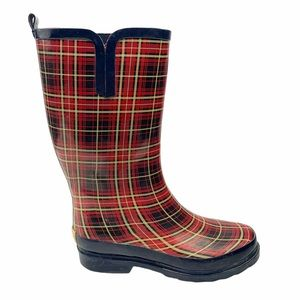 Bit and Bridle Red Plaid Rain Boots Size 8
